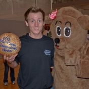4-Square Champion, Drew Buehler, and the Rec Bear, Sandy