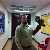 Jamie and a Great Horned Owl