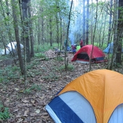 Tents on a backpacking trip at the Red River Gorge