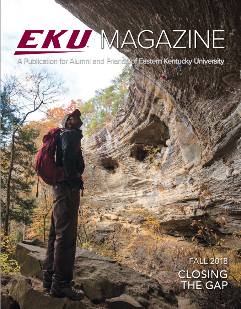 Dr. Brian Clark looks at the cliff faces of the Kentucky's Red River Gorge