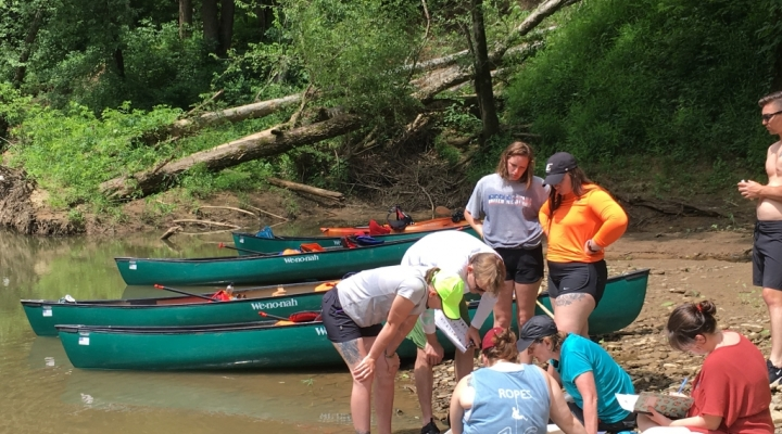Students conducting water quality research on the Rockcastle River
